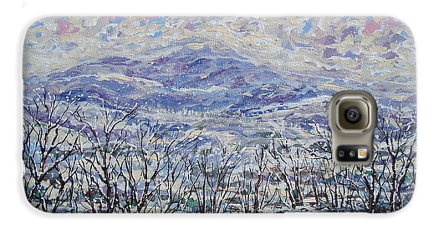 Landscape Galaxy S6 Case featuring the painting Happy Winter. by Leonard Holland