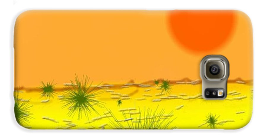 Sky.sun.desert.sand.heat.rare Bushes Of The Prickle.dust.dry. Galaxy S6 Case featuring the digital art Hard Sun Of Desert by Dr Loifer Vladimir