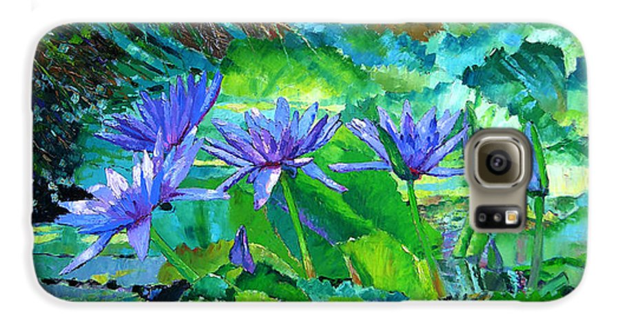 Purple Water Lilies Galaxy S6 Case featuring the painting Harmony Of Purple And Green by John Lautermilch