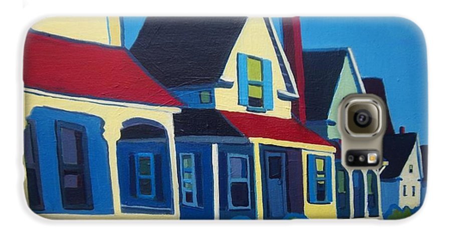 Maine Galaxy S6 Case featuring the painting Harpswell Cottages by Debra Bretton Robinson