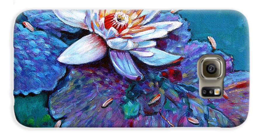 Water Lily Galaxy S6 Case featuring the painting Harvest Moon by John Lautermilch