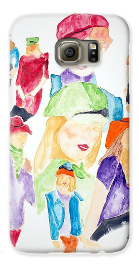Hats Galaxy S6 Case featuring the painting Hats by Shelley Jones