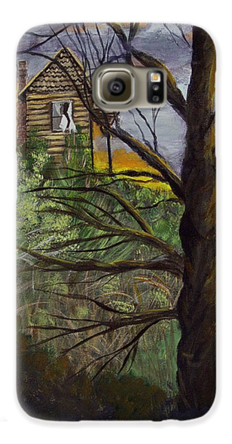 House Galaxy S6 Case featuring the painting Haunted House by Quwatha Valentine