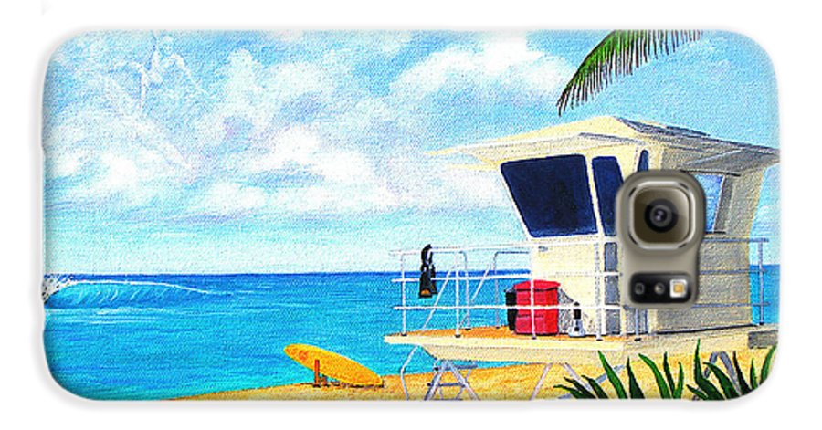 Hawaii Galaxy S6 Case featuring the painting Hawaii North Shore Banzai Pipeline by Jerome Stumphauzer
