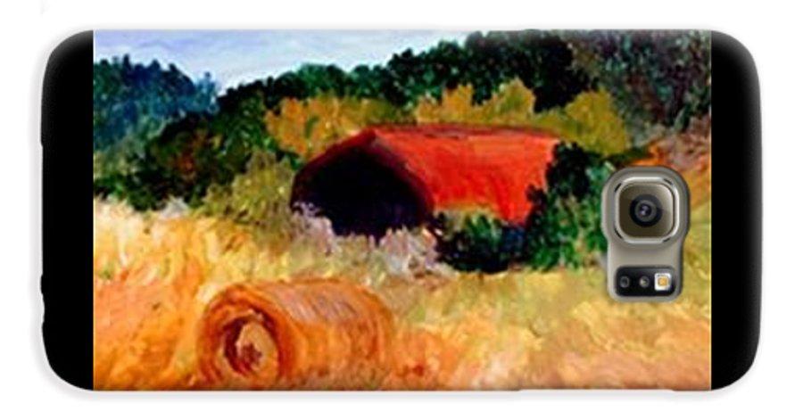 Hayrolls Galaxy S6 Case featuring the painting Hayrolls by Gail Kirtz
