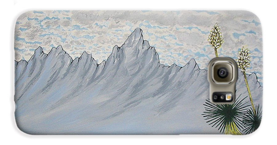 Desertscape Galaxy S6 Case featuring the painting Hazy Desert Day by Marco Morales