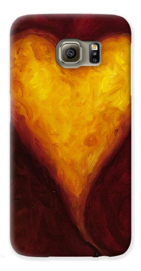 Heart Galaxy S6 Case featuring the painting Heart Of Gold 1 by Shannon Grissom