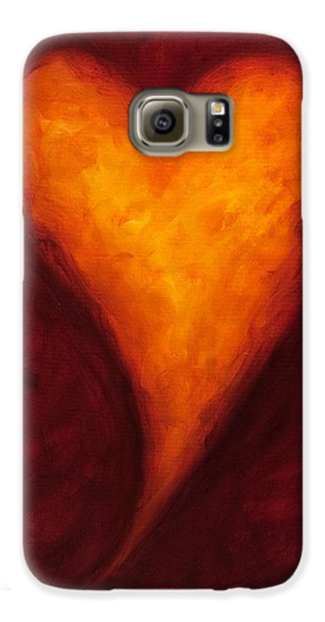 Heart Galaxy S6 Case featuring the painting Heart Of Gold 2 by Shannon Grissom