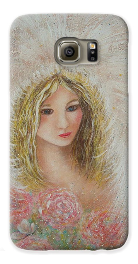 Angel Galaxy S6 Case featuring the painting Heavenly Angel by Natalie Holland