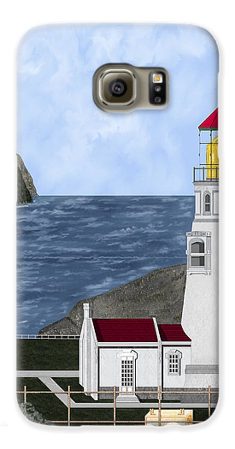 Lighthouse Galaxy S6 Case featuring the painting Heceta Head Oregon by Anne Norskog
