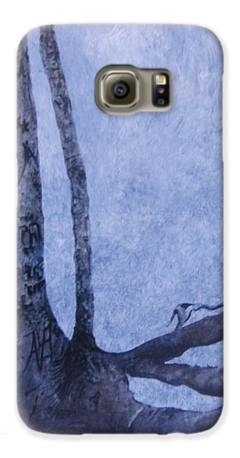 Tree Trunk Galaxy S6 Case featuring the painting Hedden Park II by Leah Tomaino