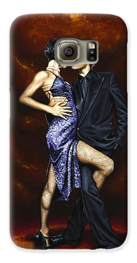 Tango Dancers Love Passion Female Male Woman Man Dance Galaxy S6 Case featuring the painting Held In Tango by Richard Young