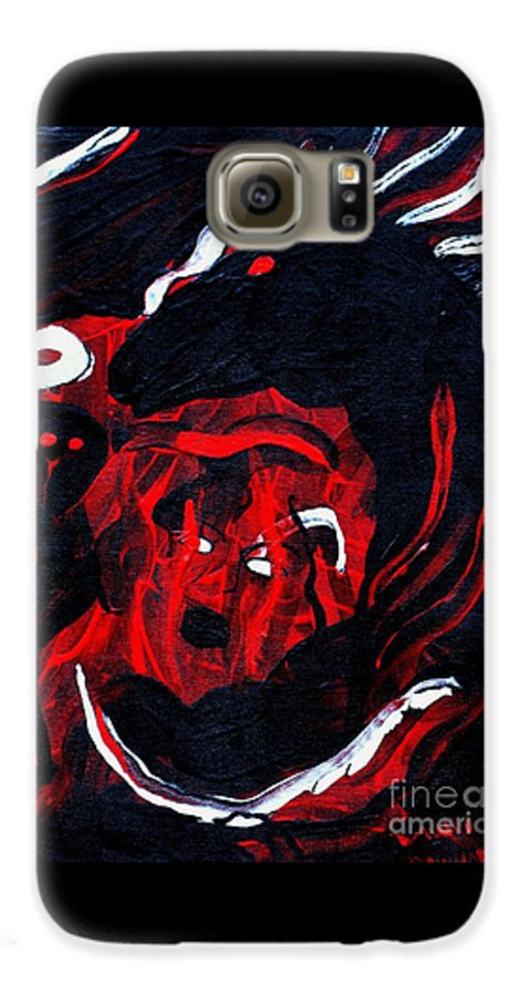 Horse Woman Red Black Silver Galaxy S6 Case featuring the painting Hell Beast by Dawn Downour