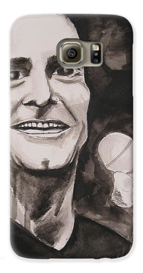 Author Black Darkestartist Flag Henry Ink Musician Panting Portrait Rollins Spoken Watercolor Darkest Artist Galaxy S6 Case featuring the painting Henry Rollins by Darkest Artist