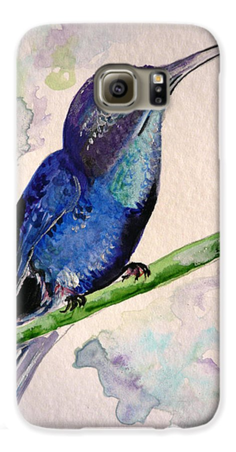 Hummingbird Painting Bird Painting Tropical Caribbean Painting Watercolor Painting Galaxy S6 Case featuring the painting hHUMMINGBIRD 2  by Karin Dawn Kelshall- Best