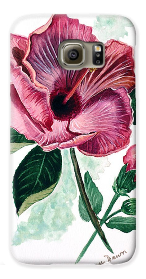 Flora Painting L Hibiscus Painting Pink Flower Painting Greeting Card Painting Galaxy S6 Case featuring the painting Hibiscus Dusky Rose by Karin Dawn Kelshall- Best