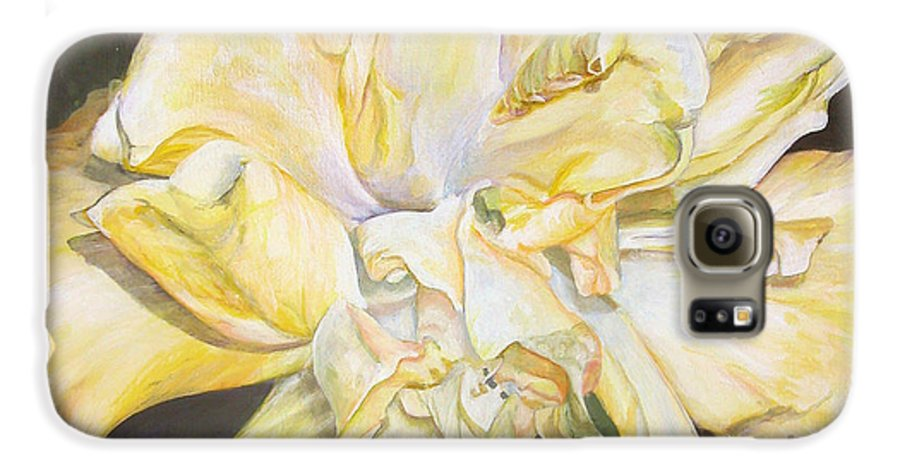 Floral Painting Galaxy S6 Case featuring the painting Hibiscus Jaune by Muriel Dolemieux
