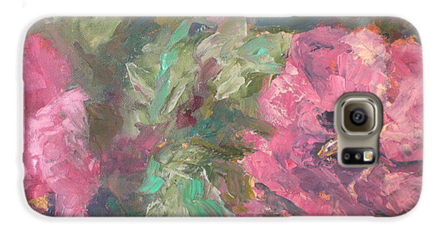 Oil Galaxy S6 Case featuring the painting Hibiscus by Lou Ewers