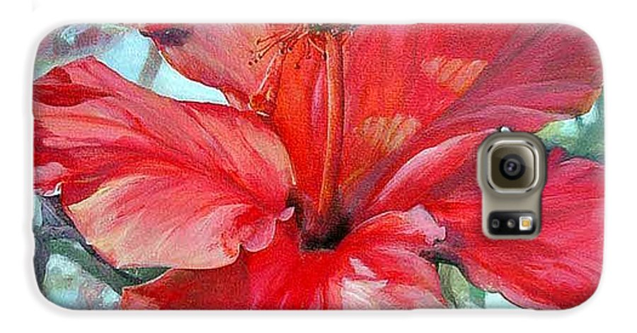 Floral Painting Galaxy S6 Case featuring the painting Hibiscus Rouge by Muriel Dolemieux