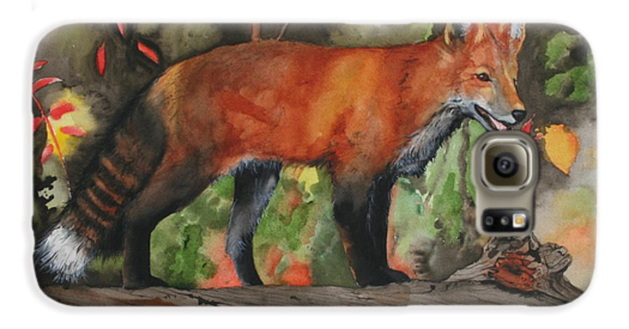 Fox Galaxy S6 Case featuring the painting Hiding In Plain Sight by Jean Blackmer