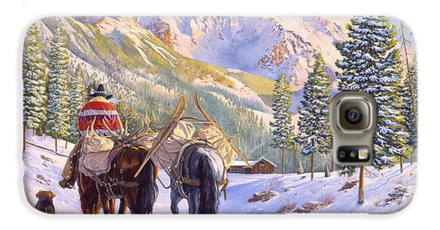 Horses Galaxy S6 Case featuring the painting High Country by Howard Dubois