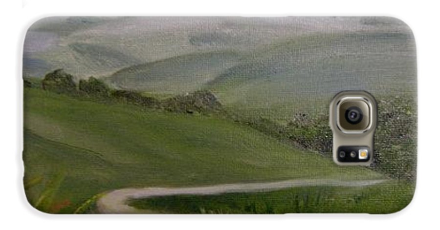 Pathway Galaxy S6 Case featuring the painting Highway Into The Hills by Toni Berry