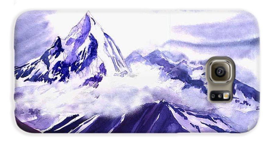 Landscape Galaxy S6 Case featuring the painting Himalaya by Anil Nene