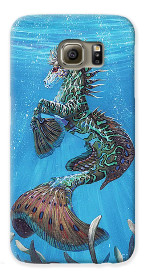 Seahorse Galaxy S6 Case featuring the painting Hippocampus by Stanley Morrison