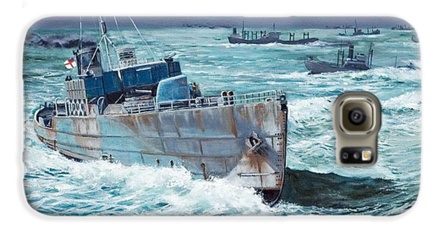 Hms Compass Rose Galaxy S6 Case featuring the painting Hms Compass Rose Escorting North Atlantic Convoy by Glenn Secrest