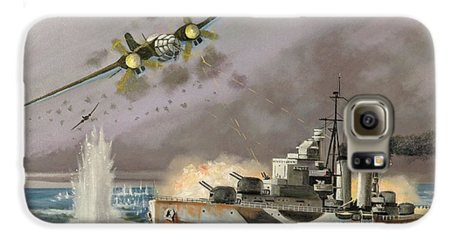 Ships That Never Were Galaxy S6 Case featuring the painting Hms Ulysses Attacked By Heinkel IIis Off North Cape by Glenn Secrest