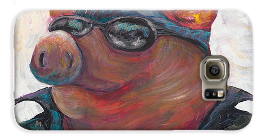 Hog Galaxy S6 Case featuring the painting Hogley Davidson by Nadine Rippelmeyer