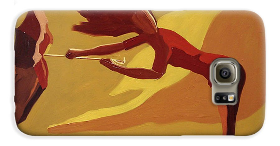 Woman Galaxy S6 Case featuring the painting Hold On by Barbara Andolsek