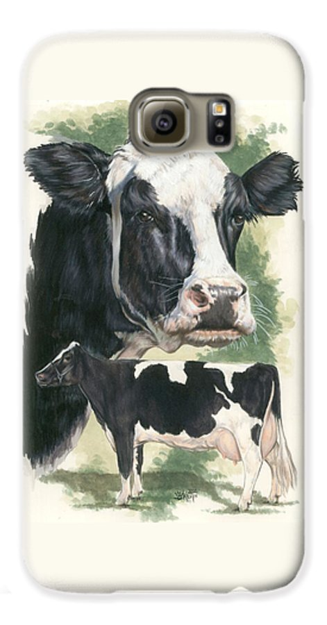 Cow Galaxy S6 Case featuring the mixed media Holstein by Barbara Keith