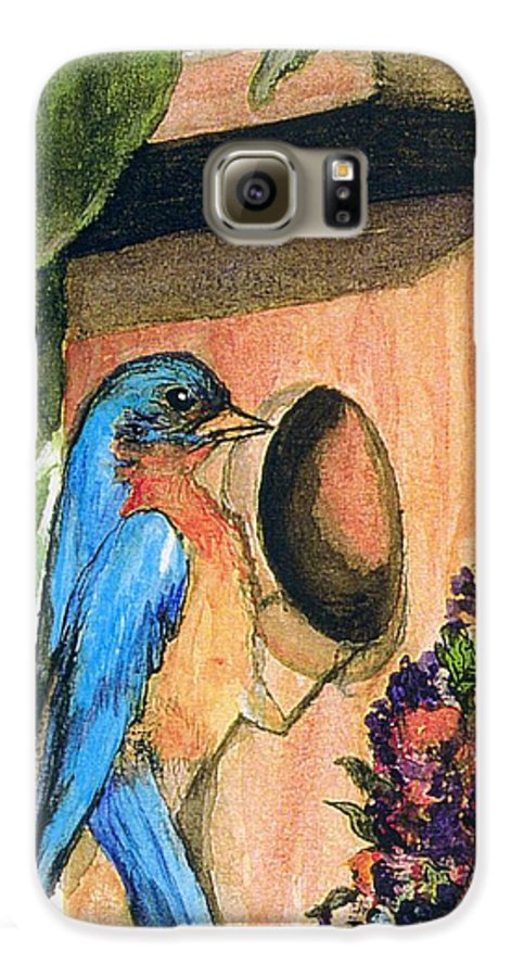 Bluebirds Galaxy S6 Case featuring the painting Home Sweet Home by Gail Kirtz