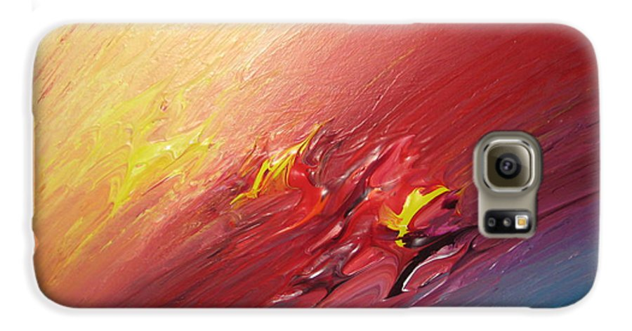 Abstract Galaxy S6 Case featuring the painting Honeymoon Bliss - A by Brenda Basham Dothage