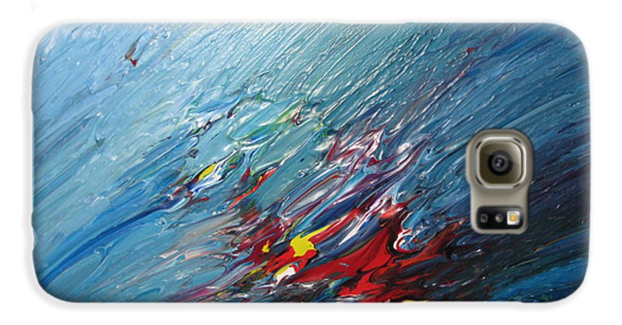Abstract Galaxy S6 Case featuring the painting Honeymoon Bliss - B by Brenda Basham Dothage