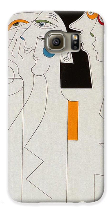 Horror People Eyes Modern Humor White Galaxy S6 Case featuring the painting Horror by Hildegarde Handsaeme