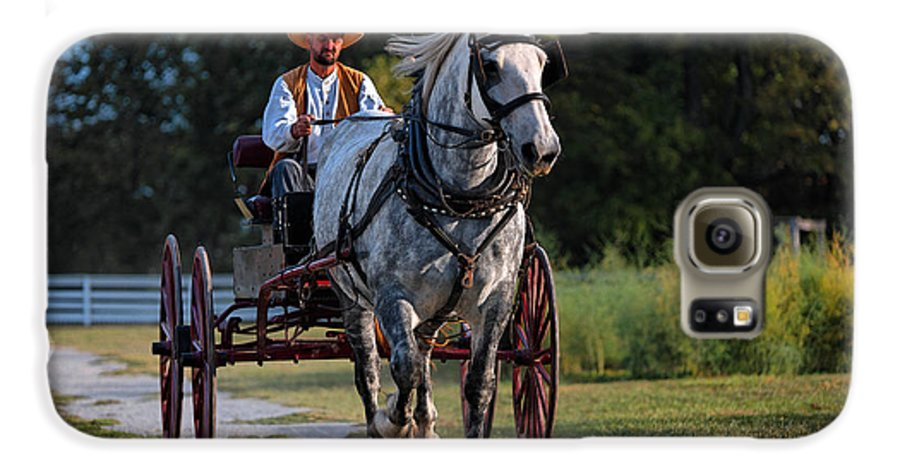 Horse Galaxy S6 Case featuring the photograph Horse And Buggy by Lone Dakota Photography