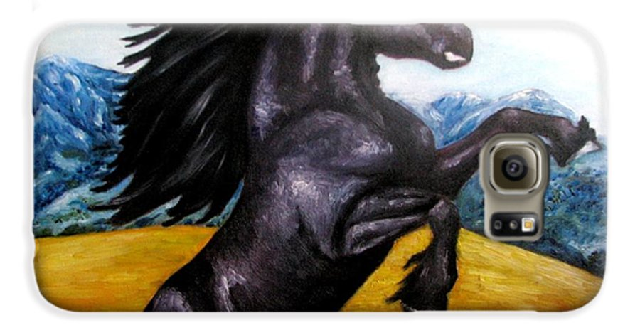 Horse Galaxy S6 Case featuring the painting Horse Oil Painting by Natalja Picugina