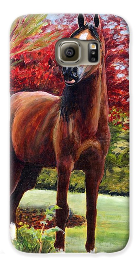 Horse Galaxy S6 Case featuring the painting Horse Portrait by Eileen Fong