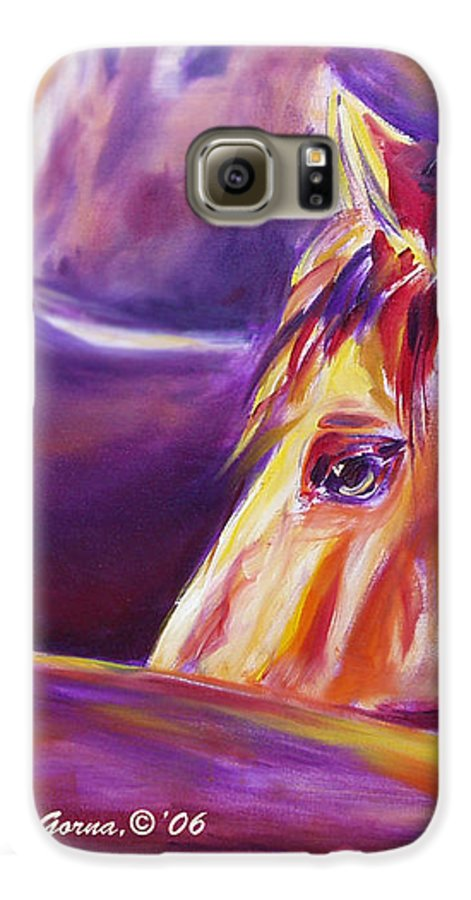 Horses Galaxy S6 Case featuring the painting Horse World Detail by Gina De Gorna