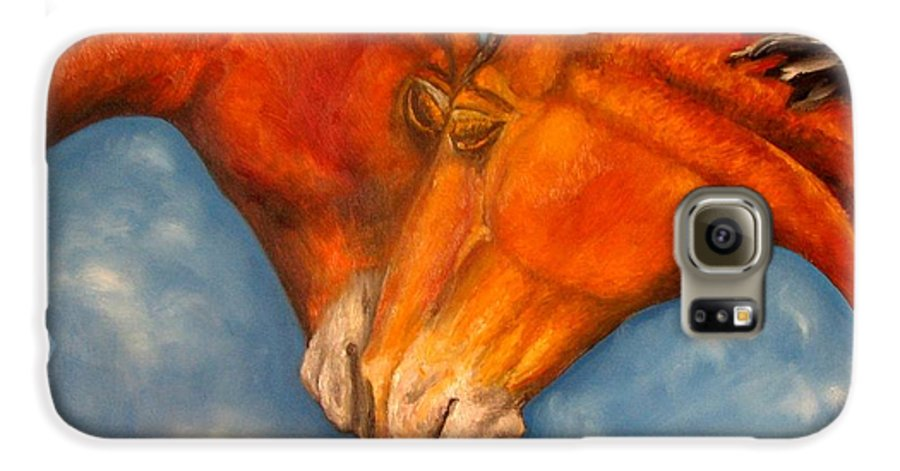 Horses Galaxy S6 Case featuring the painting Horses In Love.oil Painting by Natalja Picugina