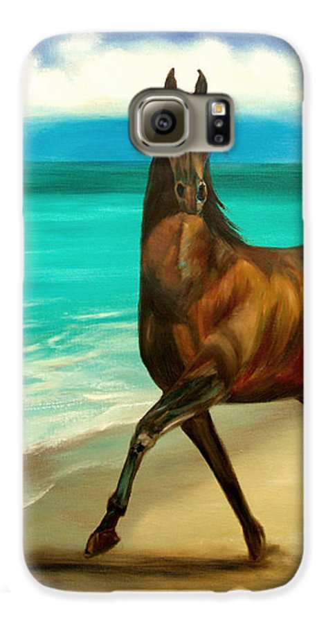 Horse Galaxy S6 Case featuring the painting Horses In Paradise Dance by Gina De Gorna
