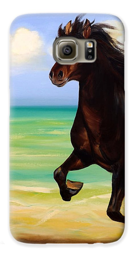 Horses Galaxy S6 Case featuring the painting Horses In Paradise Run by Gina De Gorna