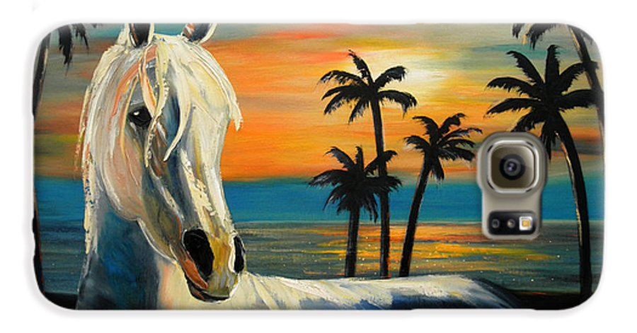 Horse Galaxy S6 Case featuring the painting Horses In Paradise Tell Me Your Dream by Gina De Gorna