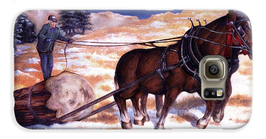 Horse Galaxy S6 Case featuring the painting Horses Pulling Log by Curtiss Shaffer