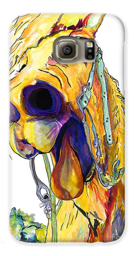 Animal Painting Galaxy S6 Case featuring the painting Horsing Around by Pat Saunders-White