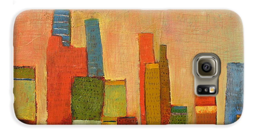 Abstract Cityscape Galaxy S6 Case featuring the painting Hot Manhattan by Habib Ayat