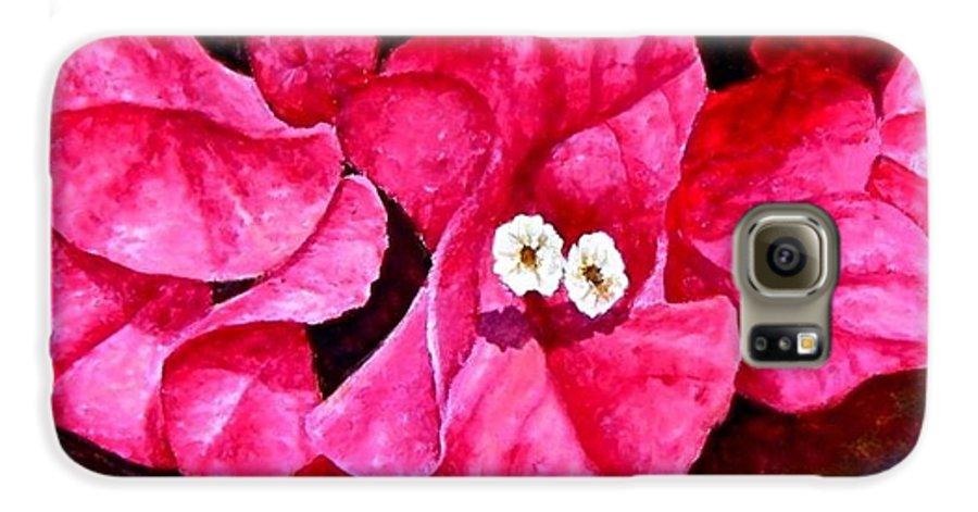 Oil Galaxy S6 Case featuring the painting Hot Pink Bougainvillea by Darla Brock