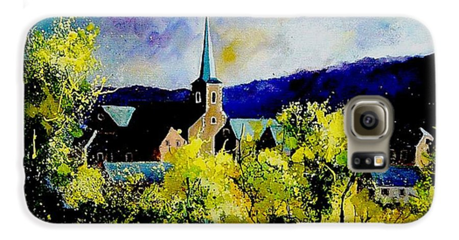 Poppies Galaxy S6 Case featuring the painting Hour Village Belgium by Pol Ledent